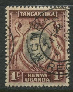 Kenya & Uganda - Scott 66a - KGVI Definitive -1938 - FU - Single 1c Stamp