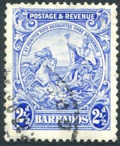 BARBADOS-1932 2½d Bright Ultramarine Perf 13½ x 12½ Sg 233ab FINE USED V23906