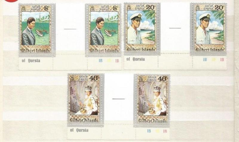 GILBERT ISLANDS SCOTT 293-5 MNH GUTTER PAIRS