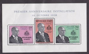 Haiti # C125 (footnoted), President Duvalier Souvenir Sheet, Damaged, 10%
