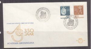 NETHERLANDS, 1964 Groningen University pair on First Day cover.