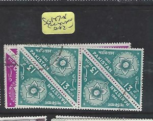 PAKISTAN (P2010B)    FLOWER STAMPS, TRIANGLE STAMPS SG 147-8 BL OF 4  VFU