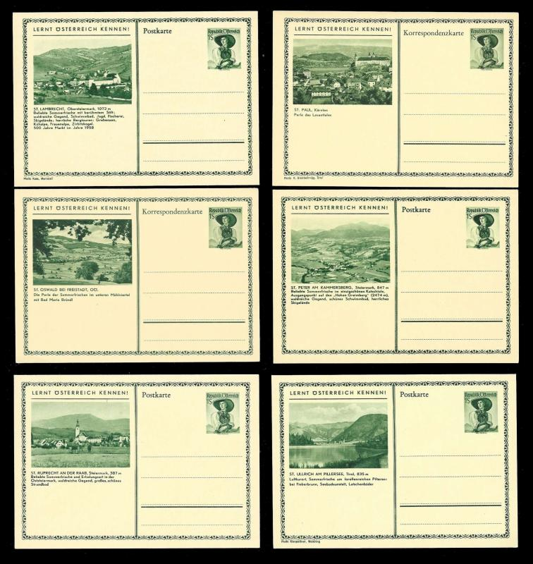 AUSTRIA (108) Scenery View Mixed Face Value Postal Cards c1950s ALL MINT UNUSED