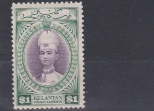 KELANTAN 1937 - 40   S G 52   $1 VIOLET & BLUE  GREEN    MH  CAT £65