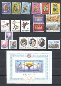 1984 - SAN MARINO - Complete year set - Scott #1060 and others - MNH**