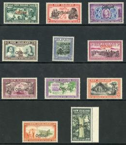 New Zealand SG0141/51 1940 Centennial set opt OFFICIAL M/Mint