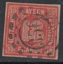 German States - Bavaria 1862 , 18 Kr. red , Mi13a VFU