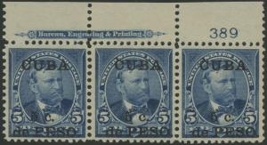 US ADMIN DURING SPANISH AMERICAN WAR #225 XF UNUSED IMPT & PL #389 STR/3 BR9749