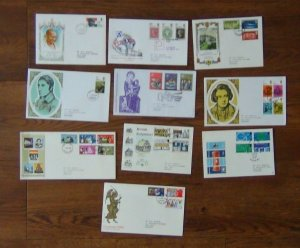 Great Britain 10 x FDC 1969 - 70 Gandhi Dickens Architecture Post Office Xmas
