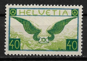 1929 Switzerland C14 Allegory of Air Mail 40c MH