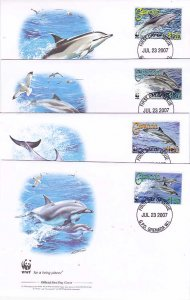 Grenada 4-FDC'S 3654a-d Dolphins WWF 2007