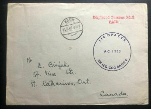 1949 Eutin Germany Displaced Person DP Rettberg Camp Cover To Canada