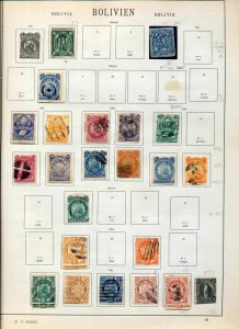 BOLIVIA 1860s/1930s M&U Collection on Old Pages(Apx 70+Items)NS93