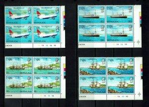 Bermuda: 1980, London International Stamp Expo  in plate blocks of 4,  Mint