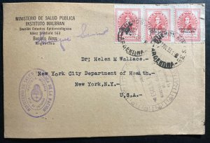 1953 Buenos Aires Argentina Postcard Cover To New York USA Health Minister
