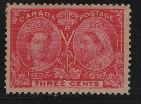 Canada, 53, HINGED REMNANT, CREASED, 1897 Queen Victoria 1837 & 1897