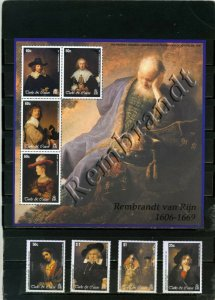 TURKS& CAICOS 2003 PAINTINGS BY REMBRANDT SET & SHEET OF 4 STAMPS MNH