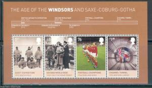 GREAT BRITAIN THE AGE OF THE WINDSORS SOUVENIR SHEET WITH FOUR STAMPS
