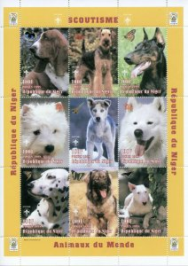 Niger 1998 MNH Dogs Animals of World Scouting Scouts Butterflies 9v M/S Stamps