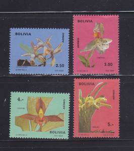 Bolivia C327-C330 Set MH Flowers, Orchids