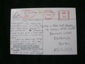 LUNDY STAMP USED ON 1992 POSTCARD