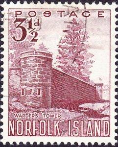 NORFOLK ISLAND 1953 QEII 3½d Brown-Lake SG13 FU