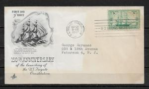 US 1947 Cachet FDC Ships,Sailing Ship Frigate Constitution,VF-XF !!! (PT-1)