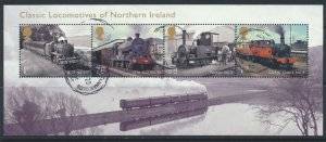 GB SG MS3498  SC#3198  Northern Ireland Trains Miniature Sheet Used  see scan
