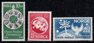 Norway # 299-301, U.P.U., Mint NH, 1/2 Cat.