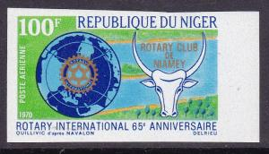 Niger 1970 65th Anniversary of ROTARY International IMPERF 100fr Airmail VF/NH