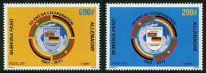 HERRICKSTAMP BURKINA FASO Sc.# 1342-43 Cooperation with Germany