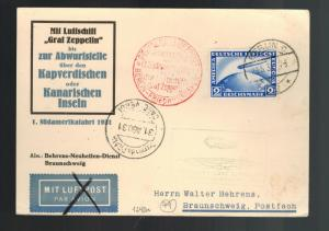 1931 Germany Graf Zeppelin Postcard Cover to USA LZ 127 # C36 1st SAF