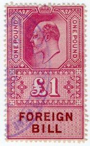 (I.B) Edward VII Revenue : Foreign Bill £1 (1915)