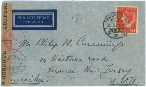 93724 - DUTCH INDIES  - POSTAL HISTORY - CENSORED Airmail  COVER to USA  1941