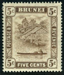 BRUNEI-1933 5c Chocolate 5c RE-TOUICH.  A lightly mounted mint example Sg 68a
