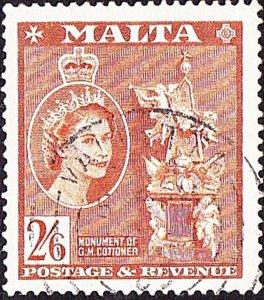 MALTA 1956 QEII 2/6s Chestnut SG279 FU