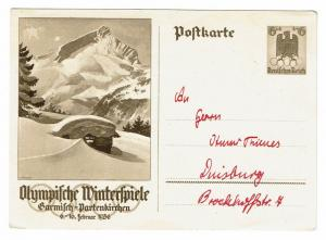 Germany 1936 Olympics Mountain View, Postal Card, Used - Lot 100817