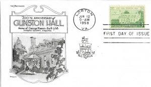#1108 FDC, 3c Gunston Hall, Aristocrats-Lowry cachet