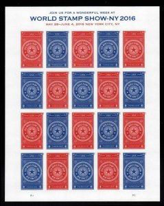 # 5010-5011b World Stamp Show NY 2016 Forever Sheet of  MNH Imperforate