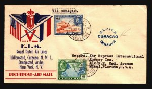 Curacao 1943 KLM Censored First Flight Cover to NY - Z17755