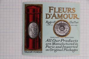 Fleurs d'Amour talcum powder perfume Roger Gallet Paris NY advertising poster ad