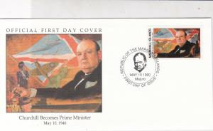 Marshall Islands 1990 Churchill Becomes PM Cancel Pic + Stamp FDC Cover Rf 32045