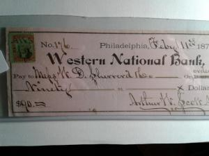 SCOTT # R35 USED INTERNAL REVENUE STAMP CHECK WESTERN NATIONAL BANK 1875