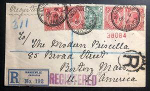 1915 Mandeville Jamaica Registered Cover To Boston Ma USA