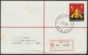 PAPUA NEW GUINEA 1969 Registered cover RELIEF No.8 cds used at AITAPE.......H113