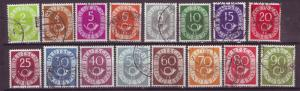 J16023 JLstamps 1951-2 germany set used #670-85 numerals and posthorns