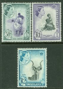 EDW1949SELL : SWAZILAND 1962 Scott #105-107 High Values. VF, MNH. Catalog $44.00