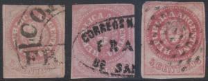 ARGENTINA 1862-63 Sc 7C, 7e & 7m CORDOBA, SAN JUAN & DOTS CANCELS SCV$98.50