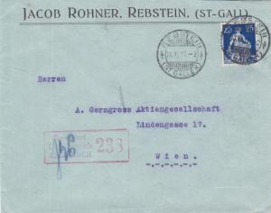 1917, Rebstein, Switzerland to Wien, Austria, Censored (24319)