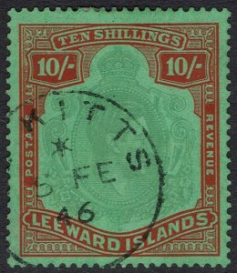 LEEWARD ISLANDS 1938 KGVI 10/- USED